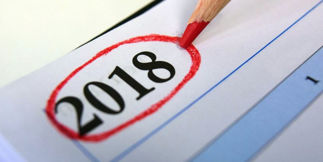 red pencil circling 2018 on a calendar page