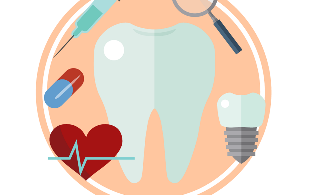 dental implants icon with tooth, needle, pill, heart, magnifying glass, and a dental implant