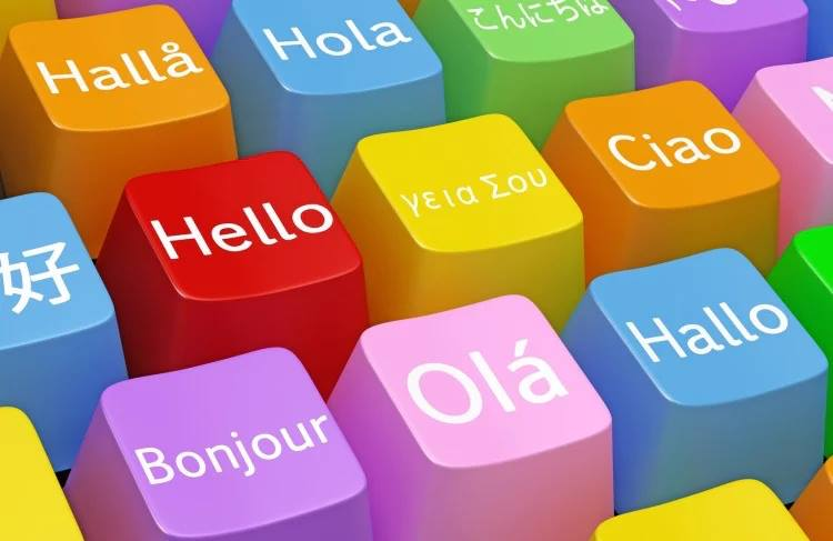 Hello in various languages on keyboard keys